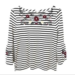 Womens J.Crew Top L Office Floral Stripe Sleeve By